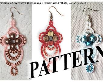 Tatting Pattern \ Earrings Pattern \ Pattern \ PDF Pattern \ Shuttle Tatting \ Shuttle Tatting Pattern \ Lace Pattern \ Tatting jewelry