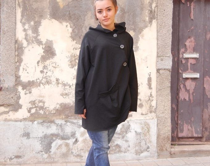 Extravagant Black Hoodie, Lagenlook Spring Summer Top, Oversized Hooded Cardigan, Maxi Black Sweater, Woman Loose Cardigan, Long Sleeve