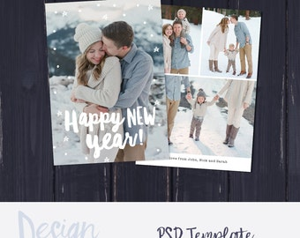Happy New Year Card Template, 2017 Greeting Card, New Years Greeting Card, Photoshop Template, Photo Template, New Years Card Template