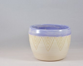 Geometric Design on a Small Ceramic Planter / Tumbler / Bowl
