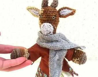 "Amigurumi goat, ""Praline"", the Habs biquette, dressed style retro shabby fall"