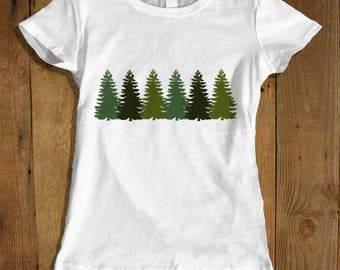 Tree Line T-shirt for Women - Evergreen Trees T-shirt - Pine Tree Shirt for Her - Women's Camping Shirt
