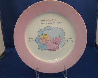 Personalised Porcelain, hand painted, Baby Plate