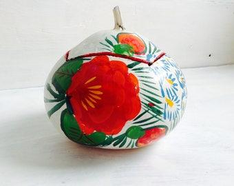 Vintage Painted Gourd. Tehuana Jicalpextle. Oaxaca, Mexico. Jicara Pintada