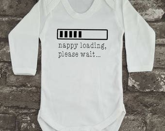 Funny Baby Grow, Baby Shower Gift, New Mom, Father's Day Present, Comical Baby Clothes, New Dad, Nappy Loading Bodysuit, New Baby Gift,