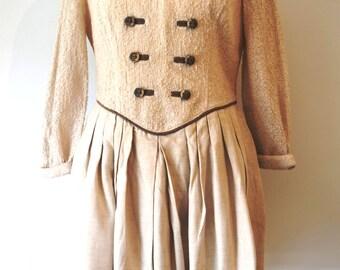 Original vintage Bavarian dress / Folk dress / Ecru, beige dress / Winter dress / Pleats / Embroidered
