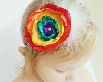 Rainbow flower headband- colorful baby and girls headband- singed flower headband- rainbow baby headband/ rainbow headband