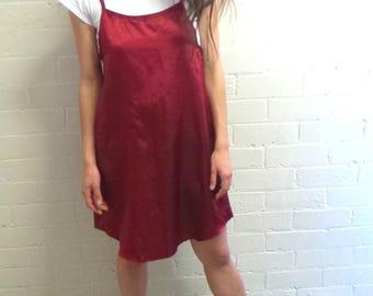 Red Silky Slip Dress
