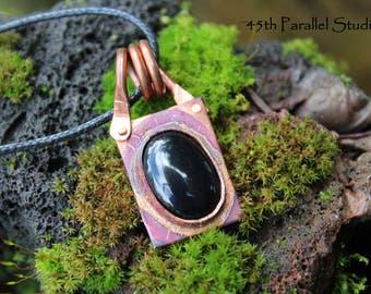 Black Onyx Copper Necklace, Black Onyx Pendant, Black Necklace, Gemstone Necklace, Rustic Copper Necklace