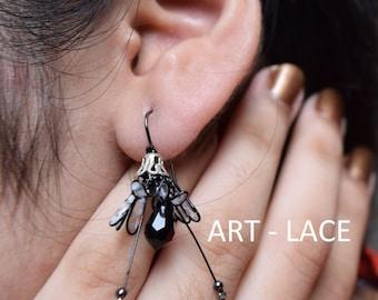 Black and white flower earrings studs polka dot earring black studs Swarovski crystal Swarovski earrings Black Teardrop Black Jewellery Gift