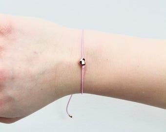 Cord Heart Rose Gold Bracelet/Anklet - TinyLittlePiecesShop