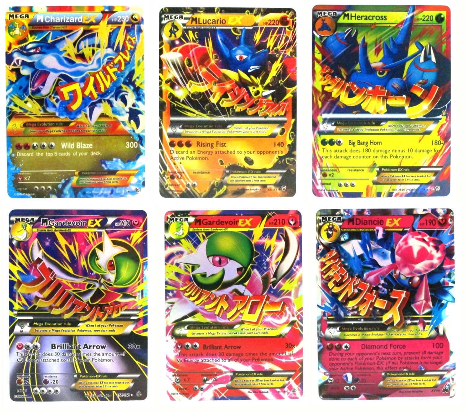 Pokémon Trading Card Game Mega Ex Set Of 6 Cards Charizard