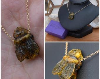 Amber Necklace, Bee Necklace,  Honeybee necklace, bee Jewelry, Amber Bee, Hand Carved Bee, Amber, Bee, Honey Bee, Birthstone
