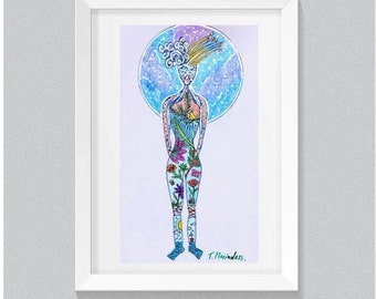 Mother Earth Illustrated Picture, Framed Drawing, Original Art Illustration Art, Pictures of Women, Drawings of Women, Artistic Gift For Her