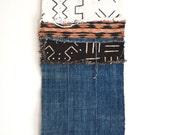 African Mudcloth, Indigo Wall Hanging, Woven Bohemian Wall Art, Tribal Print Boho Fringe Tapestry Wall Hanging, Faded Denim Boho Wall Decor