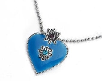 Blue Enamel Heart Pendant Necklace NK4029j