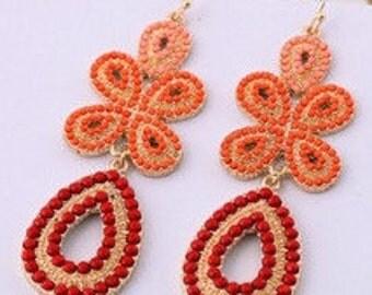 Bohemian Orange Beaded Chandelier Earrings EA6005i