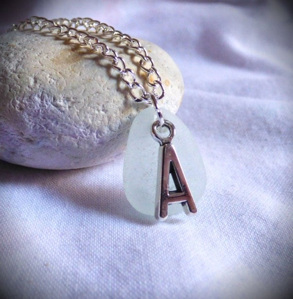 A Necklace, Seaglass Pendant, Initial Necklace, Sea Glass jewelry, A Pendant, Silver A, A Jewellery, Letter Jewelry, Beachglass - PC17011