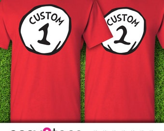 1-shirt, Customize Name Custom Title, Dr. Seuss Thing 1 Thing 2, Cat in the Hat, Disney, Universal Studios, Siblings, Couples Shirts, Twins