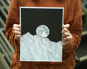 Full Moon over the Mountains Illustration Digital Download