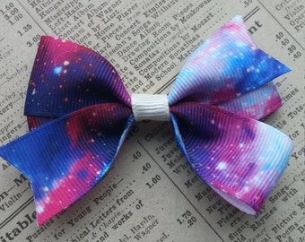 Galaxy Hair Bow, girls hair bows, toddler hair bows, party favors, galaxy party favors, space party favors