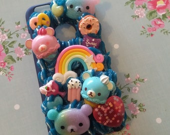 Blue and silver Rilakkuma sweets decoden phone case for iPhone 6 / 6S