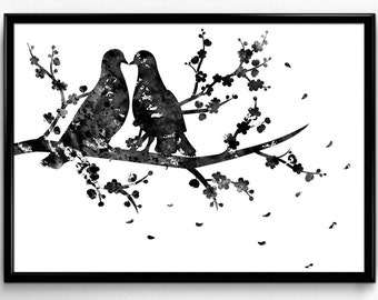 Two Birds on a Flowering Branch, Animal art, Black and White Watercolor, Poster, Room Decor, gift, printable wall art (634)