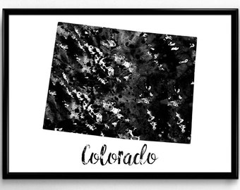 Map of Colorado, United States of America, Black and White Map, Travel, Watercolor, Room Decor, Poster, gift, Printable Wall Art (730)