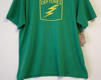 Vintage Deftones Lightning Bolt Green 90s T-Shirt- Size Men's XL (Cotton/Polyester)