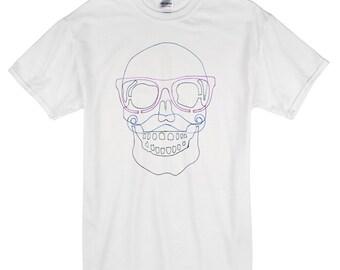 Hipter Skull T-Shirt white 100% cotton xray moustache glasses skull