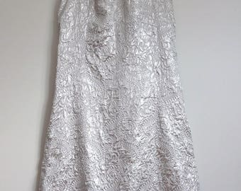 Amazing Vintage 1960s 1970s Silver Frank Usher Evening Gown Dress 14