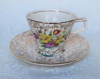 Old English Sampler Tea Cup and Saucer, Vintage 40s H K Tunstall Teacup & Saucer, English Gold Chintz Bone China