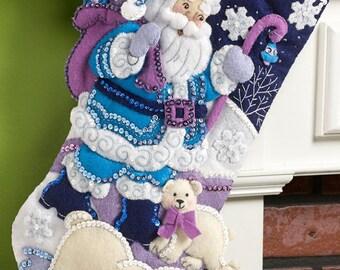 "Bucilla Arctic Santa 18"" Christmas Stocking Felt Applique Kit, 86653"