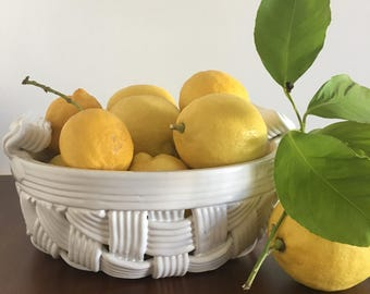 Vintage White Woven Ceramic Basket- Fruit  Bowl- Made in Italy