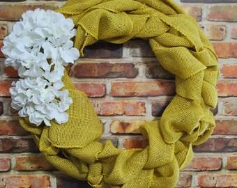 Yellow Burlap Wreath