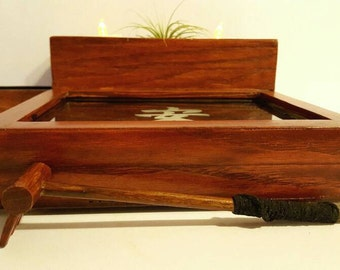 Items similar to desk organizer desktop Zen Garden white wood
