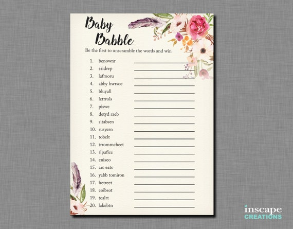 Boho Baby Shower Word Scramble Game Printable Bohemian Baby
