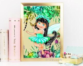 Forest Fairy Print - Woodland Fairy Print - Fairy Print Nature Flowers Wall Print - FairyWall Art - Digital Print - Instant Download