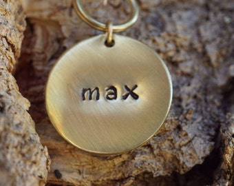 Hand stamped dog tag, 7/8 inch brass pet ID tag, brass cat ID tag, brushed dog ID tag, cat tag, small dog tag, brass pet tag, tag silencer