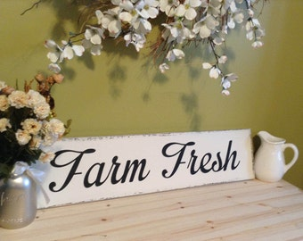 Farmhouse Sign Decor, White Farmhouse Sign, Farmhouse Sign, Farm Fresh Sign, Farmhouse Chic Sign