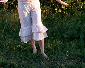 Haystack Bloomers - Cream 100% Cotton Muslin - Prairie Ruffled Flounced Pants - Adult / Women's Custom-Made - Moth & Rust Handmade in Kansas