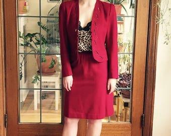 Vintage Sasson Raspberry Wool Skirt Suit