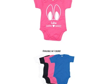 Baby easter romper, personalized bodysuit, bunny ears bodysuit, easter bunny bodysuit, personalized bunny, easter gift basket, ears bodysuit