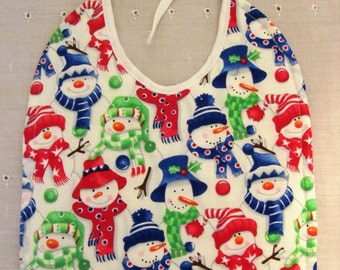 Snowmen Baby Bib - Quilted/Absorbent Backing