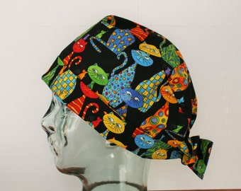 Colourful Cats, Scrub Cap, OR Hat, Vet Tech,  Cats, Kittens, Pets, Animals,  Women's Tie Back Hat, Scrub Caps By Daisy