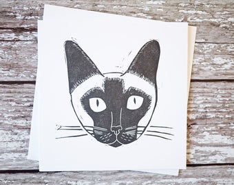 Siamese Cat Card Hand Printed Lino Print Greeting Card Siamese Gift Cat Gift