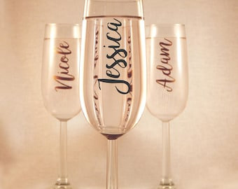 Personalised Vertical Name or Text Champagne Flute