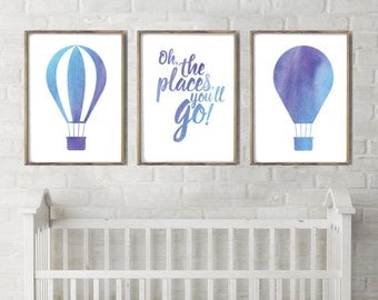 Nursery decor,set of 3,hot air balloons,wall art,quote,mauve,water color,travel,nursery, neutral,printable instant download