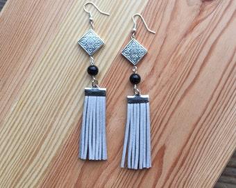 Light Grey Fringe + Silver Tiered Earrings
