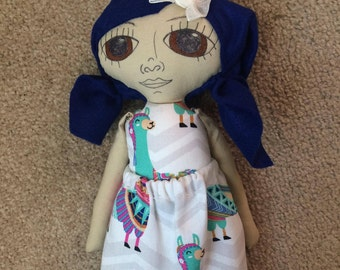 RESERVED SALE 15 inch doll, blue hair in pigtails, brown eyes, medium skintone, llama dress